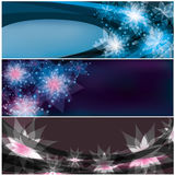 Set of bright horizontal floral banners Stock Photography