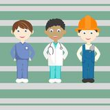 Set of bright isolated professions. Dentist, doctor, builder vector illustration