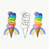 Bright juicy ice cream, summer taste, excellent background, logo for your design, rainbow ice cream, rainbow colors. Set of bright juicy ice cream, summer tastes Royalty Free Stock Image