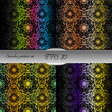 Set of bright lace-like seamless patterns. Nice hand-drawn illustration Royalty Free Stock Photography