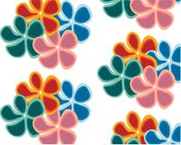 Large set of different colorful flowers on white background stock illustration