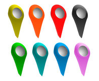 Set of bright map pointers. 3D render of Set of bright map pointers Stock Images