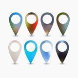 Set of bright map pointers. Elements in flat design Royalty Free Stock Photo