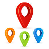 Set of bright map pointers. Map pointers 3d icons. Vector image isolated on a white background. Stock Images