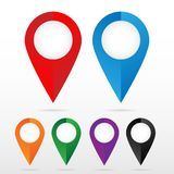 Set of bright map pointers. Used on maps royalty free illustration