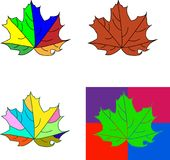 Set of Bright maple leaves isolated on white background. royalty free illustration