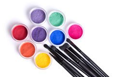 Set of bright matte mineral eye shadows and brushes Royalty Free Stock Image
