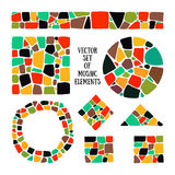 Set of bright Mosaic design elements in different forms. Mosaic style. Vector Mosaic circle, square, triangle, border. Mosaic forms. Abstract Mosaic textures royalty free illustration