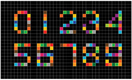 Set of bright mosaic numbers Royalty Free Stock Photos