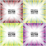 Set of bright multicolor festive speed line. Effect power explosion illustration. Design element. Vector Stock Image