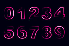 Set of bright neon numbers Royalty Free Stock Photo