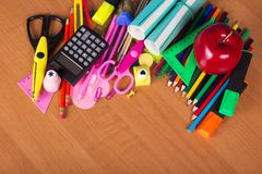 Set of bright office tools Royalty Free Stock Images
