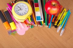 Set of bright office tools Royalty Free Stock Photo