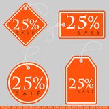 Set of Bright Orange-White Sale Banners with Various Percent. Ve. Ctor Illustration Royalty Free Stock Photo