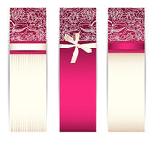 Banner set with bow and lace Stock Photo