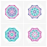 Set of Bright pink, blue mandala. Four beautiful circular ornament. Mandala. Stock Images