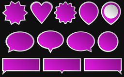 Set of bright pink stickers  on dark background. Various Stock Photos
