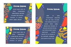 Set with Bright Postards made in Memphis Style. Set with Standard Sized Postards made in Memphis Style. Colorful Templates with Geometric Shapes and Patterns vector illustration