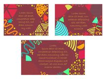 Set with Bright Postards made in Memphis Style. Set with Standard Sized Postards made in Memphis Style. Colorful Templates with Geometric Shapes,Patterns and vector illustration