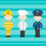 Set of bright  professions. A policeman, a cook, a fireman. People professions and occupations icon set  on white background in flat design, cartoon character Royalty Free Stock Images