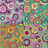 Set of 4 bright psychedelic circles pattern Stock Photography
