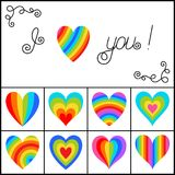 Set of Bright Rainbow Striped Hearts Isolated on White Backgroun. D. Decorative Design Elements I Love You with Heart for Postcard, Greeting, Card, Invitation Vector Illustration