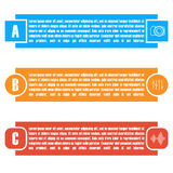 Set of bright rectangular elements infographic, vector illustration. Stock Images