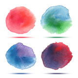 Set of bright red green blue violet watercolor vector circle stains Stock Photo
