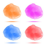 Set of bright red orange blue violet watercolor vector circle stains Royalty Free Stock Photos