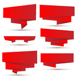 Set of bright red ribbons Stock Photography