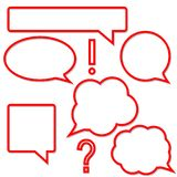 Set of bright red speech bubbles Stock Images