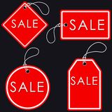 Set of Bright Red-White Sale Banners. Label and Sign. Vector ill Stock Photos