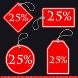 Set of Bright Red-White Sale Banners with Various Percent. Vecto Stock Images