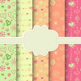 Set of bright seamless backgrounds for your design. Illustration Royalty Free Stock Photos