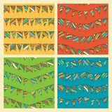 Set of bright seamless bunting patterns. Various hand-drawn garlands on coloured background. Boundless pattern can be used for web page backgrounds, wallpapers Royalty Free Stock Photography