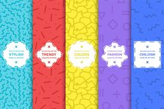 Set of bright seamless memphis patterns. Colorful trendy backgrounds, fashion design 80-90s.  stock illustration