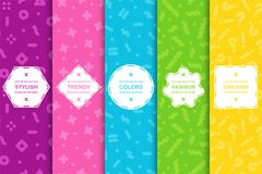 Set of bright seamless memphis patterns. Colorful trendy backgrounds, fashion design 80-90s.  vector illustration