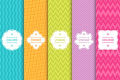 Set of bright seamless zigzag patterns - vector striped texture. Colored stylish backgrounds vector illustration