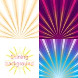 Scroll on a background of sunlight. Set of  bright and shining backgrounds with sun rays on the background of the orange, pink, blue, purple dawn Stock Photos