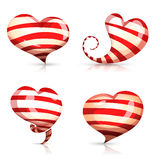 Set of bright, shiny, striped hearts of different Royalty Free Stock Images
