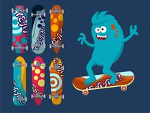 Set of bright skateboard on a dark background with a cheerful blue monster. Illustration Stock Photos
