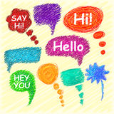 Set of bright speech bubbles hand-drawn on a light background. Vector Stock Photography