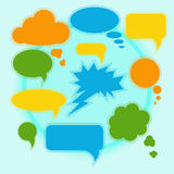 Set of bright speech bubbles on a light background. Vector Stock Photo