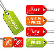 Set of bright spring tags Royalty Free Stock Photos