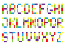 Set of bright squares alphabets. Set of bright color squares alphabets  on white background Stock Image