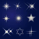 Set of bright stars Stock Image