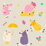 Set of bright stickers with cute sheep.  Stock Photo
