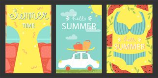 A set of bright summer cards. Greeting card.. Vector design concept for summer party royalty free stock image