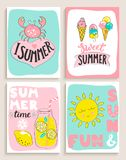 Set of 4 bright summer cards. Set of 4 bright summer cards with cocktail,sun and fun,crab, ice cream and handdrawn lettering and other fun elements. Perfect for Stock Photos