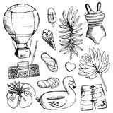 Set of bright Summer doodle sticker, hand draw elements Stock Photo